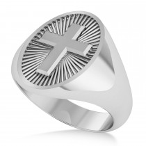 Men's Holy Cross Fashion Ring 14k White Gold