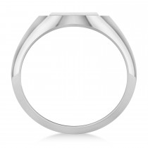 Men's Holy Cross Fashion Signet Ring 14k White Gold