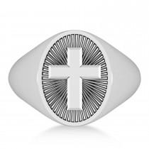 Men's Holy Cross Fashion Signet Ring 14k White Gold