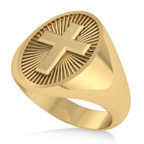 Men's Holy Cross Fashion Ring 14k Yellow Gold