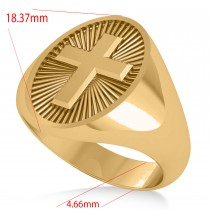 Men's Holy Cross Fashion Signet Ring 14k Yellow Gold