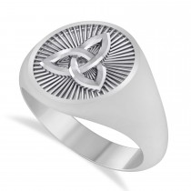 Men's Celtic Knot Signet Ring in 14k White Gold