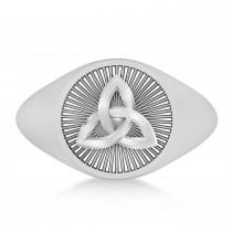 Men's Celtic Knot Signet Ring in 14k White Gold