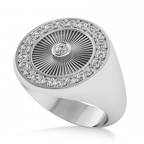 Men's Halo Diamond Fashion Ring 14k White Gold (0.68ct)