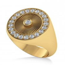 Men's Halo Detail Diamond Fashion Ring 14k Yellow Gold (0.68ct)