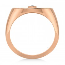Men's Halo Diamond & Black Diamond Fashion Ring 14k Rose Gold (0.68ct)|escape