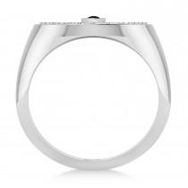 Men's Halo Diamond & Black Diamond Fashion Ring 14k White Gold (0.68ct)