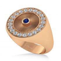 Men's Halo Diamond & Blue Sapphire Fashion Ring 14k Rose Gold (0.68ct)