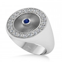 Men's Halo Diamond & Blue Sapphire Fashion Ring 14k White Gold (0.68ct)