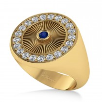 Men's Halo Detail Diamond & Blue Sapphire Fashion Ring 14k Yellow Gold (0.68ct)