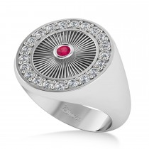 Men's Halo Diamond & Ruby Fashion Ring 14k White Gold (0.68ct)