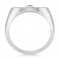 Men's Halo Diamond & Ruby Fashion Signet Ring 14k White Gold (0.68ct)