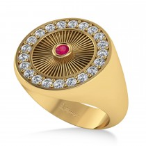 Men's Halo Diamond & Ruby Fashion Ring 14k Yellow Gold (0.68ct)