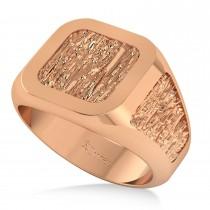 Men's Textured Detail Fashion Signet Ring 14k Rose Gold