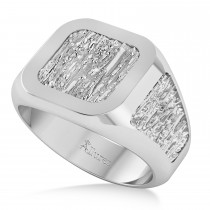 Men's Textured Detail Fashion Signet Ring 14k White Gold