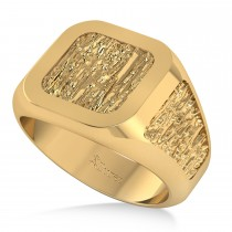 Men's Textured Detail Fashion Ring 14k Yellow Gold