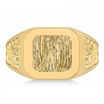 Men's Textured Detail Fashion Signet Ring 14k Yellow Gold
