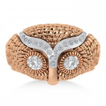 Men's Owl Diamond Accented Fashion Ring 14k Rose Gold (0.74ct)