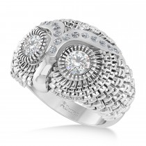 Men's Owl Diamond Accented Fashion Ring 14k White Gold (0.74ct)