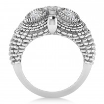 Men's Owl Diamond Accented Fashion Ring 14k White Gold (0.74ct)|escape
