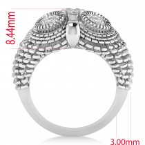 Men's Owl Diamond Accented Fashion Ring 14k White Gold (0.74ct)