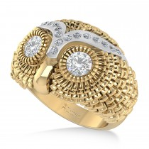 Men's Owl Diamond Accented Fashion Ring 14k Yellow Gold (0.74ct)