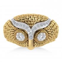 Men's Owl Diamond Accented Fashion Ring 14k Yellow Gold (0.74ct)