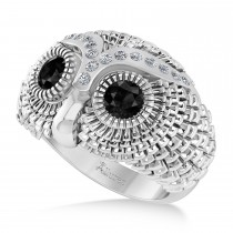 Men's Owl Diamond & Black Diamond Accented Fashion Ring 14k White Gold (0.74ct)
