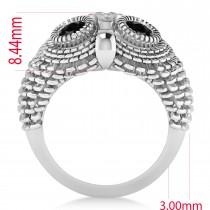 Men's Owl Diamond & Black Diamond Fashion Ring 14k White Gold (0.74ct)