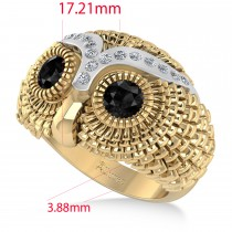Men's Owl Diamond & Black Diamond Fashion Ring 14k Yellow Gold (0.74ct)