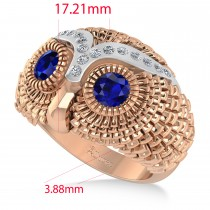 Men's Owl Diamond & Blue Sapphire Accented Fashion Ring 14k Rose Gold (0.74ct)