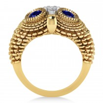 Men's Owl Diamond & Blue Sapphire Accented Fashion Ring 14k Yellow Gold (0.74ct)