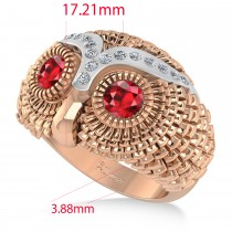 Men's Owl Diamond & Ruby Accented Fashion Ring 14k Rose Gold (0.74ct)