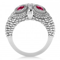 Men's Owl Diamond & Ruby Accented Fashion Ring 14k White Gold (0.74ct)|escape
