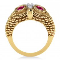 Men's Owl Diamond & Ruby Accented Fashion Ring 14k Yellow Gold (0.74ct)