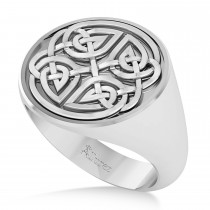 Men's Celtic Knot Fashion Ring 14k White Gold