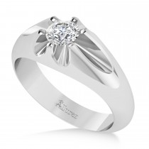 Men's Solitaire Diamond Ring 14k White Gold (0.50ct)