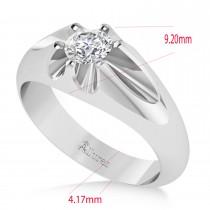 Men's Solitaire Diamond Ring 14k White Gold (0.50ct)