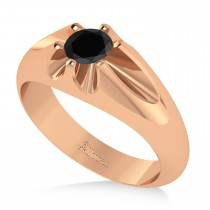 Men's Solitaire Black Diamond Ring 14k Rose Gold (0.50ct)
