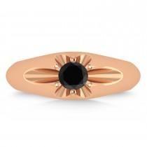 Men's Solitaire Black Diamond Ring 14k Rose Gold (0.50ct)