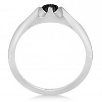 Men's Solitaire Black Diamond Ring 14k White Gold (0.50ct)