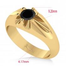 Men's Solitaire Black Diamond Ring 14k Yellow Gold (0.50ct)