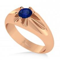 Men's Solitaire Diamond & Blue Sapphire Ring 14k Rose Gold (0.50ct)