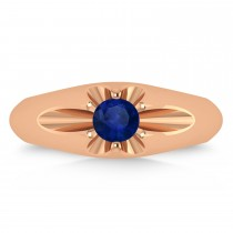 Men's Solitaire Blue Sapphire Ring 14k Rose Gold (0.50ct)