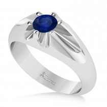 Men's Solitaire Diamond & Blue Sapphire Ring 14k White Gold (0.50ct)