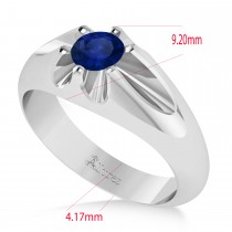 Men's Solitaire Blue Sapphire Ring 14k White Gold (0.50ct)
