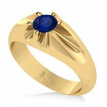 Men's Solitaire Diamond & Blue Sapphire Ring 14k Yellow Gold (0.50ct)