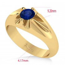 Men's Solitaire Blue Sapphire Ring 14k Yellow Gold (0.50ct)
