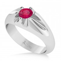 Men's Solitaire Diamond & Ruby Ring 14k White Gold (0.50ct)