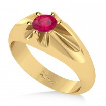 Men's Solitaire Diamond & Ruby Ring 14k Yellow Gold (0.50ct)
